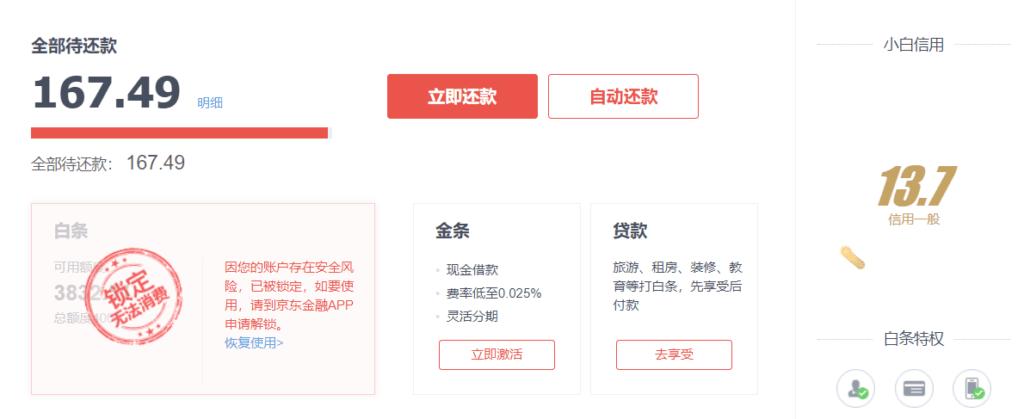 京东白条欠费(含违约金)167.49元